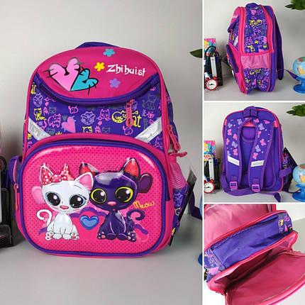 Школьный фиолетовый портфель для девочки с кошечками 38*28*16 см, фото 2