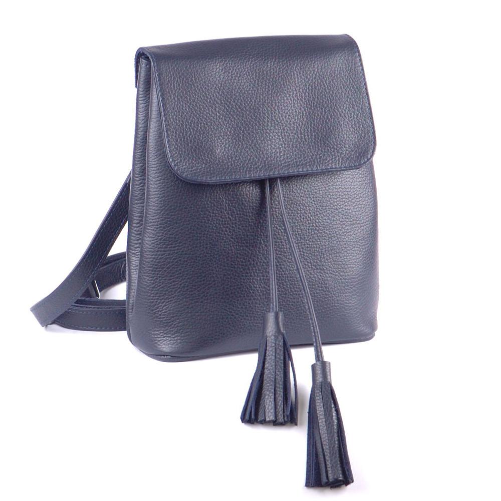 Женский кожаный рюкзачок 03 темно-синий флотар 02030103