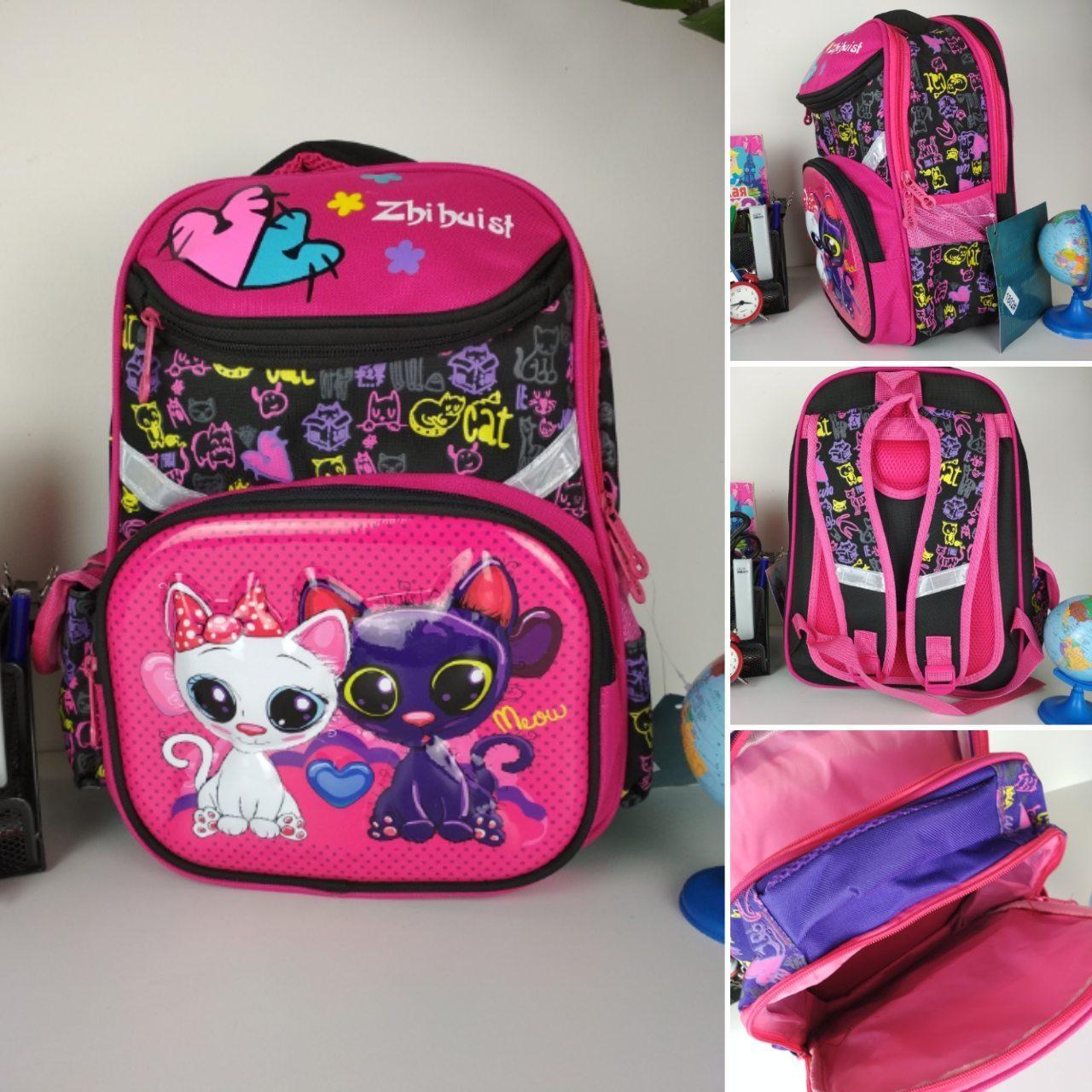 Черный портфель для школы с ярким рисунком кошечки 38*28*16 см