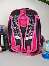 Черный портфель для школы с ярким рисунком кошечки 38*28*16 см, фото 2