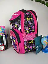 Черный портфель для школы с ярким рисунком кошечки 38*28*16 см, фото 3