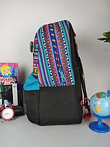 Черный портфель для школы с разноцветным орнаментом для девочки 43*29*22 см, фото 2