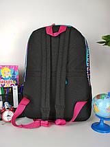 Черный портфель для школы с разноцветным орнаментом для девочки 43*29*22 см, фото 3