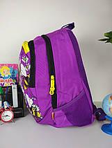 Фиолетовый школьный рюкзак с принтом пчелы для девочки 40*27*21 см, фото 3