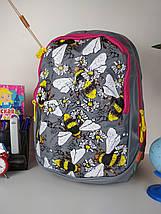 Школьный рюкзак серого цвета с принтом пчелки для девочки 40*27*21 см, фото 2