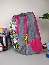 Школьный рюкзак серого цвета с принтом пчелки для девочки 40*27*21 см, фото 3
