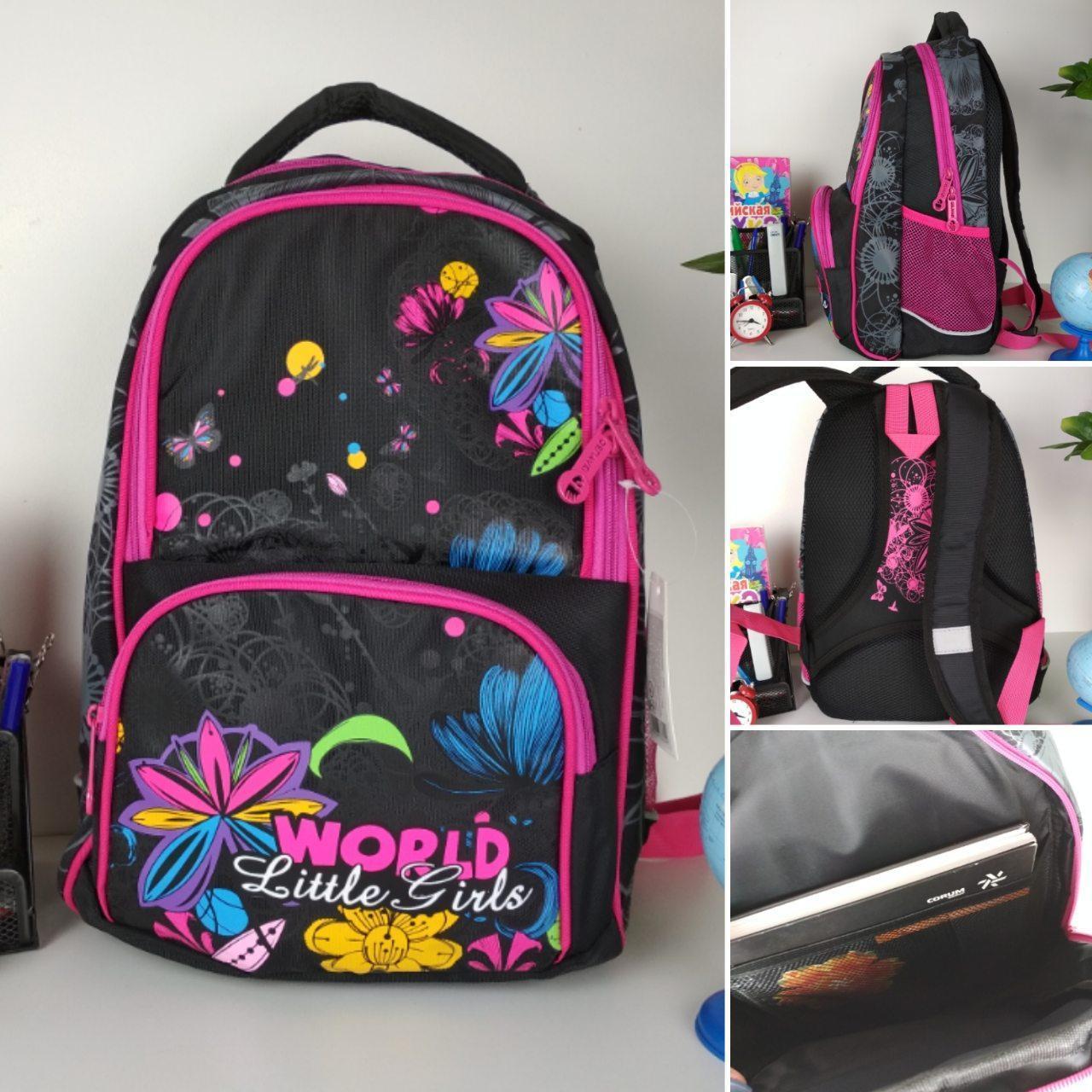 Черный детский рюкзак с цветочным принтом для средней школы 40*20*19 см