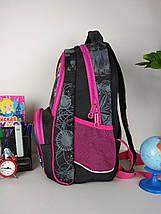 Черный детский рюкзак с цветочным принтом для средней школы 40*20*19 см, фото 2