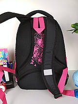 Черный детский рюкзак с цветочным принтом для средней школы 40*20*19 см, фото 3