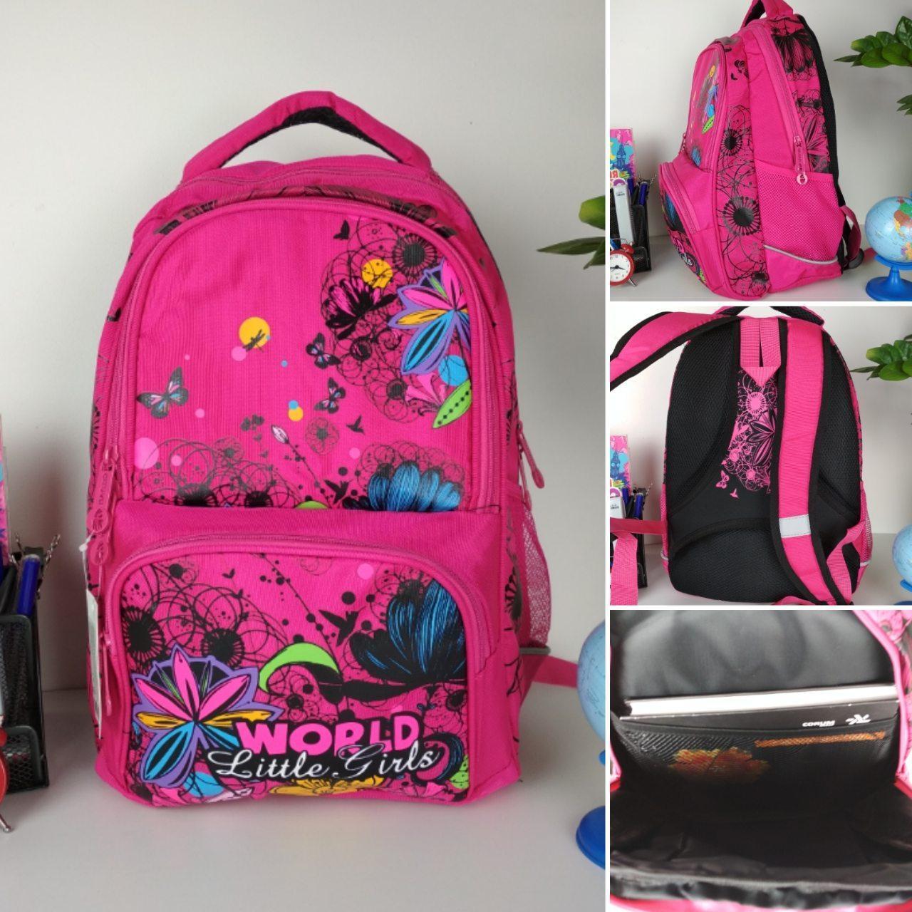 Школьный малиновый рюкзак с цветочным принтом для девочки 40*20*19 см