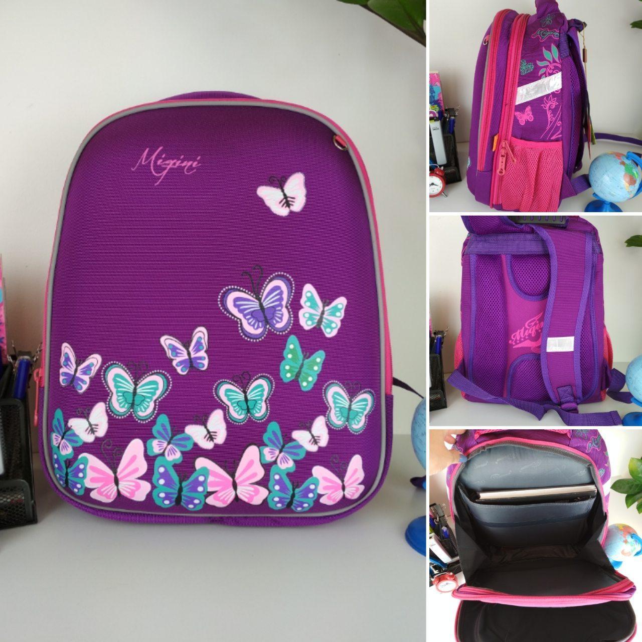 Школьный рюкзак Miqini фиолетового цвета с бабочками для девочки 40*28*19 см