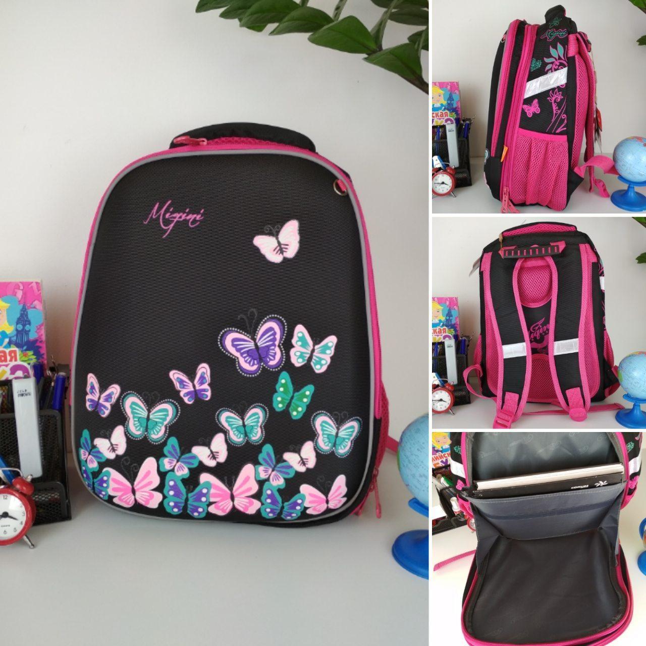 Школьный черно-розовый портфель Miqini с бабочками для девочки 40*28*19 см