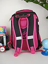 Школьный черно-розовый портфель Miqini с бабочками для девочки 40*28*19 см, фото 2