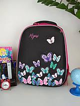 Школьный черно-розовый портфель Miqini с бабочками для девочки 40*28*19 см, фото 3