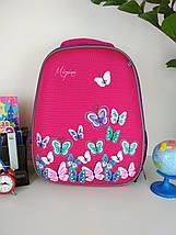 Розовый школьный портфель Miqini с бабочками для девочки 40*28*19 см, фото 3