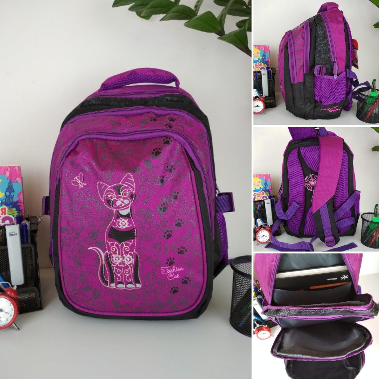 Школьный фиолетовый рюкзак с анатомической спинкой для девочки 38*30*23 см