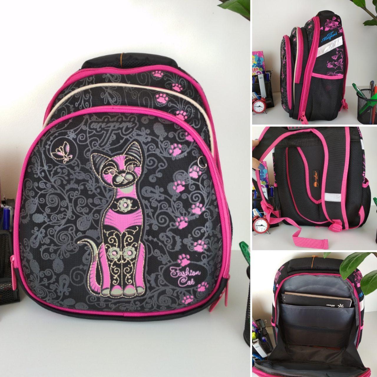 Черный ортопедический школьный рюкзак с кошкой для девочки 38*30*23 см