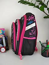 Черный ортопедический школьный рюкзак с кошкой для девочки 38*30*23 см, фото 3