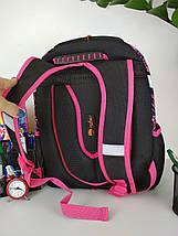 Черный ортопедический школьный рюкзак с кошкой для девочки 38*30*23 см, фото 2