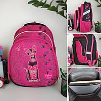Школьный ортопедический розовый рюкзак с принтом кошка для девочки 38*30*23 см