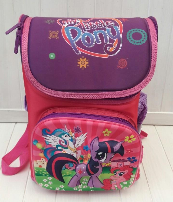 Розовый каркасный школьный портфель My Little Pony для девочки 1-4 класс 32*26*20 см