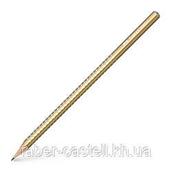 Карандаш чернографитный Faber-Castell Grip Sparkle Pearl золотой корпус, 118214