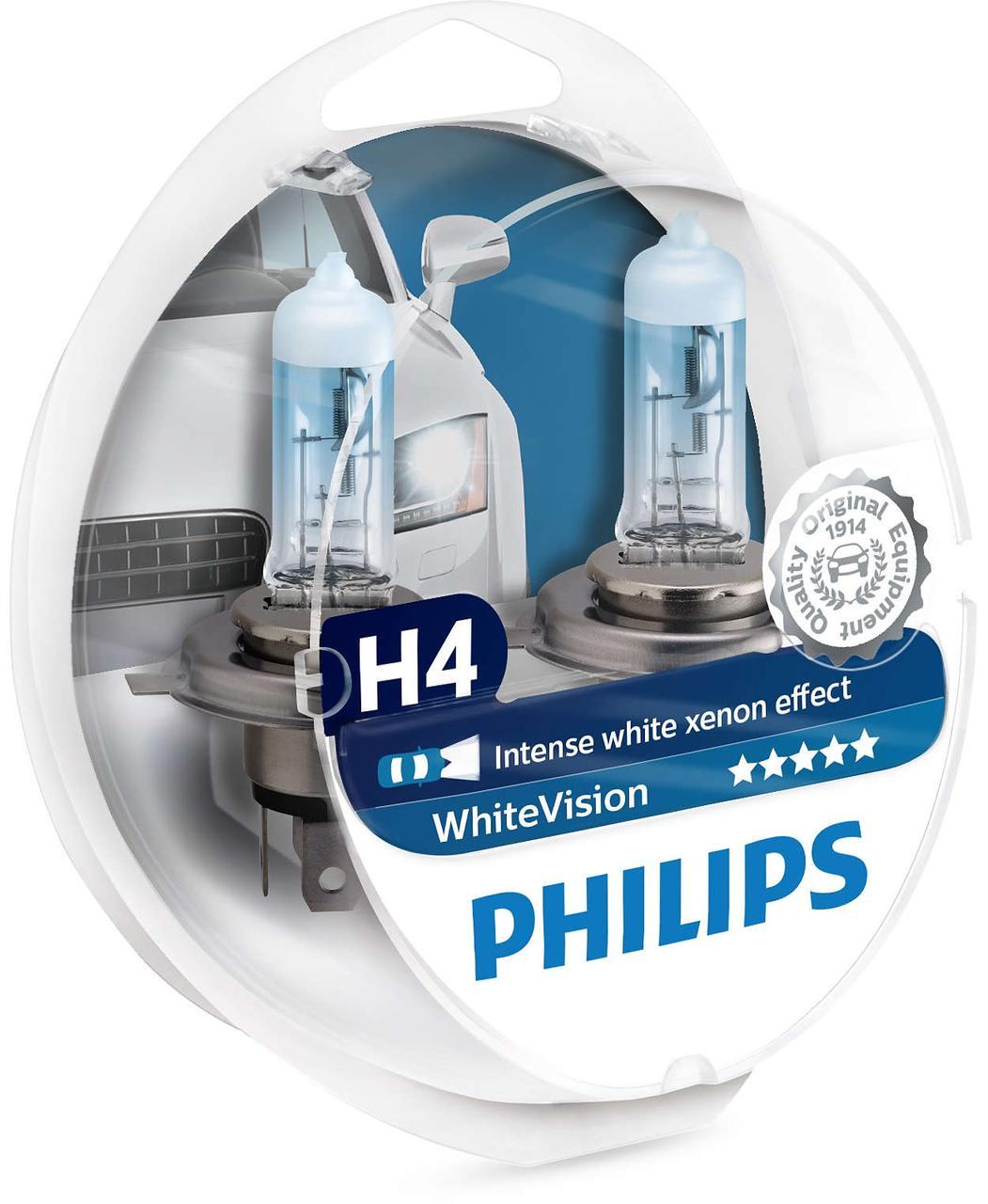 Philips H4 White Vision + 2x W5W 12V 60/55W