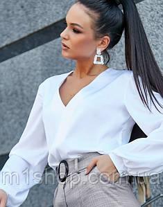 Женская шелковая блузка с широкими рукавами (3590-3591 svt)