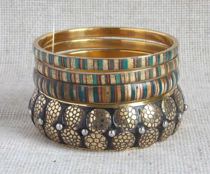 Индийские этнические браслеты женские на руку латунь