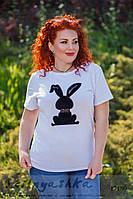 Стильная большая футболка черный заяц, фото 1