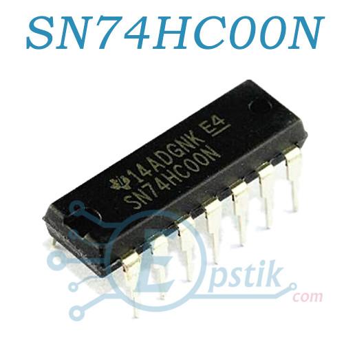 SN74HC00N, четырехканальный логический элемент, DIP14