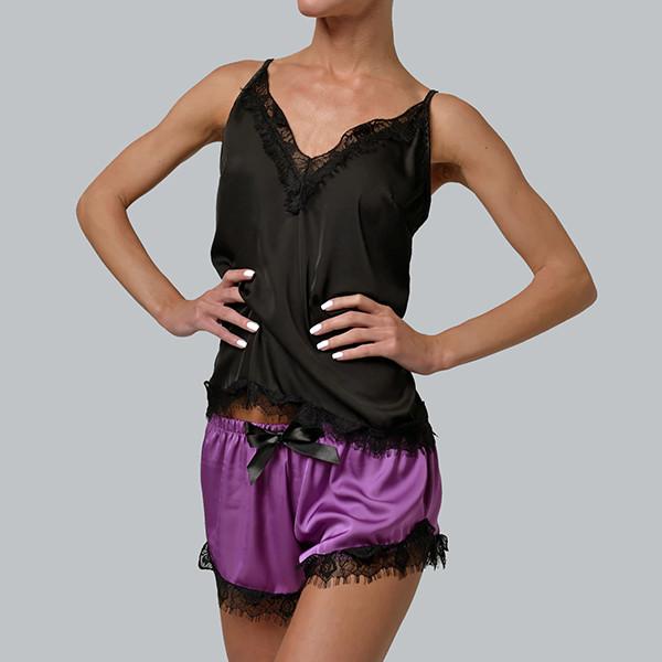 Женская пижама шелковая с французским кружевом Bl-1001 черно/сиреневая, фото 1