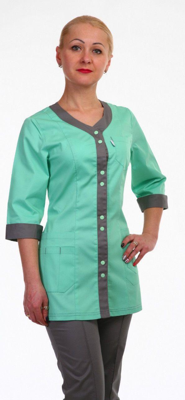 Медицинский женский костюм двухцветный на кнопках HL 2292 батист 42-60 р