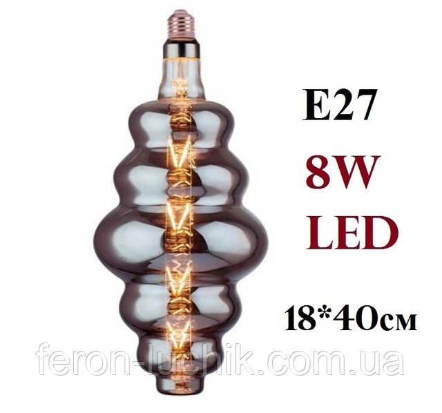 Лампа светодиодная филамент 8W 2400К декоративная led темное стекло