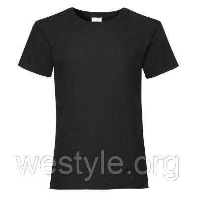 Футболка средней плотности хлопковая для девочек - 61005-36 черная