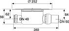 Корпус трапа стандартный горизонтальный DN 50 TECE drainpoint S, фото 2