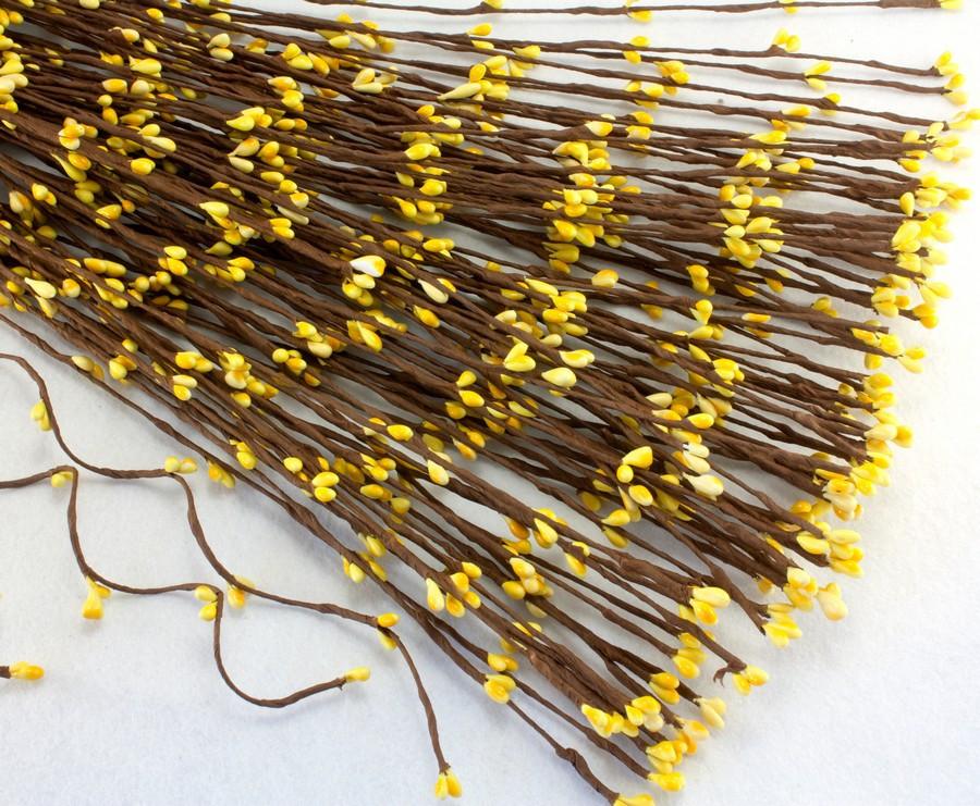 (10шт) Гибкая веточка с тычинками (длина 40см) тычинки ЖЁЛТЫЕ