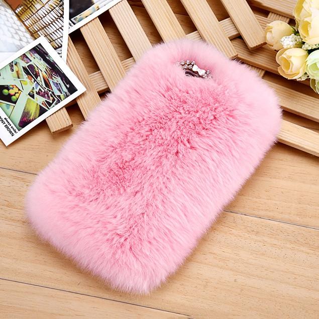 Меховой чехол для iPhone X Розовый