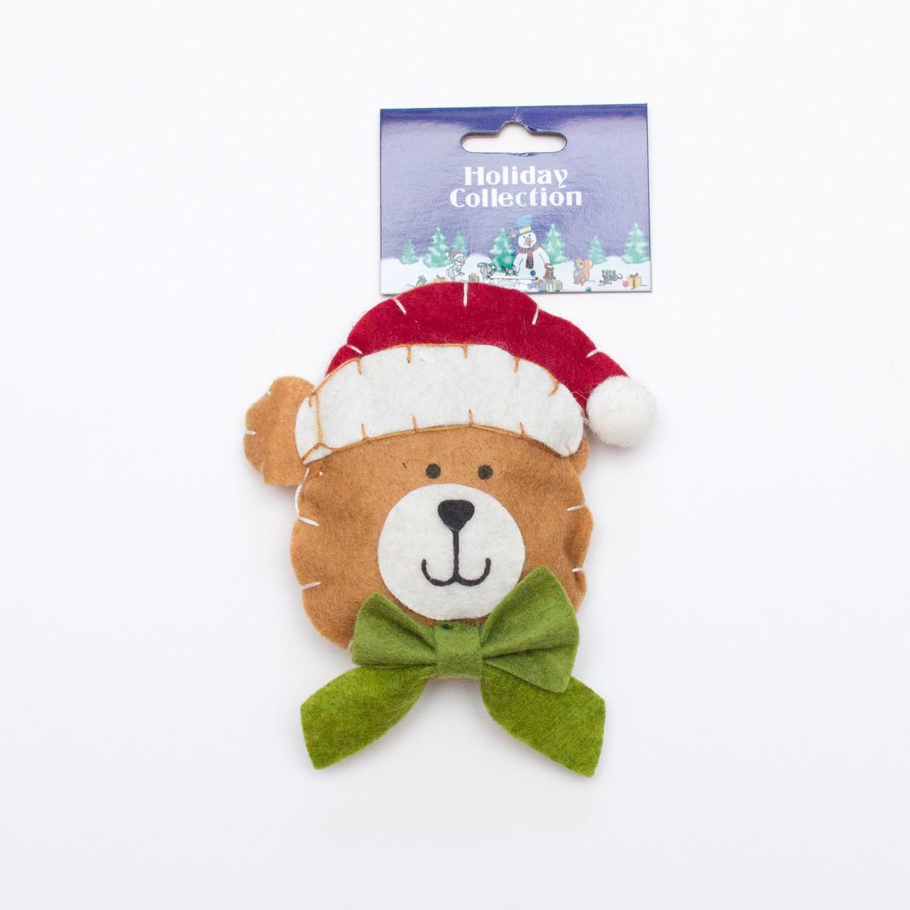 Елочная игрушка сувенирная фигурка из полиэстера на подвеске, 11см, лицо медведя, (000739-6)