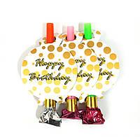 "Язычок-гудок ""Happy Birthday White-Gold"" набор 6 шт"