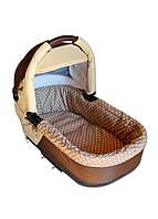 Универсальный текстиль - бортики для люльки коляски DavLu Горошек коричневый (Bor-005)
