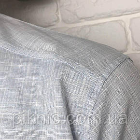 Рубашка мужская L, XL приталенная, короткий рукав, слим фит Турция турецкая, лен Белый, фото 2