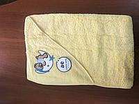 Махровое полотенце детское с капюшоном метр на метр желтое AE Tekstil