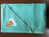 Махровое полотенце детское с капюшоном метр на метр салатовое