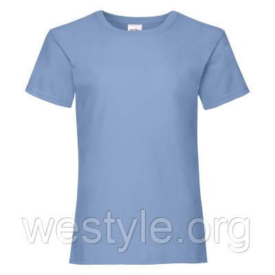 Футболка средней плотности хлопковая для девочек - 61005-YT небесно-голубой