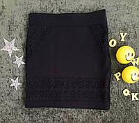 Юбка с кружевом, р. 6, 7, 8 лет, черный, фото 1