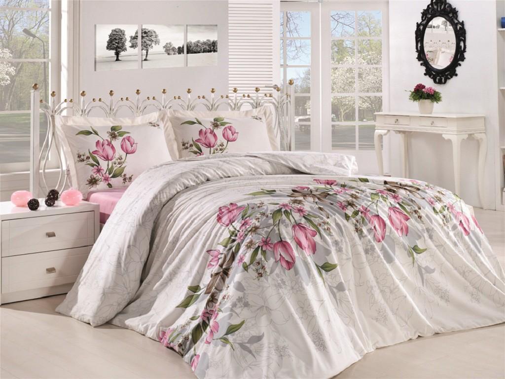 Комплект постельного белья евро Анжелика розовая