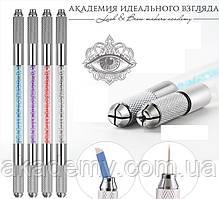 Ручка-манипула для микроблейдинга (со стразами) двойная
