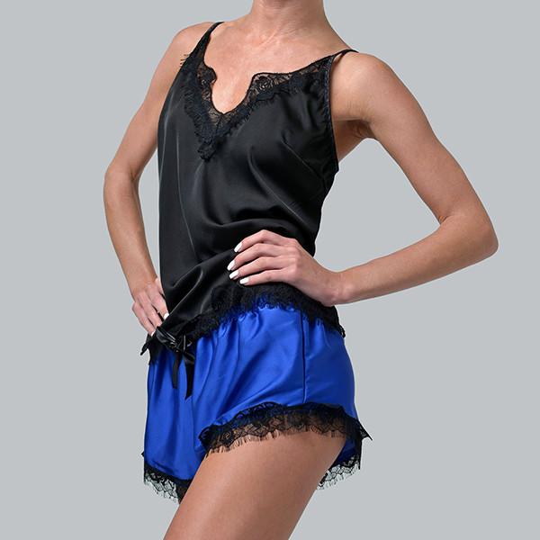 Женская пижама шелковая с французским кружевом Bl-1002 черно/синяя, фото 1