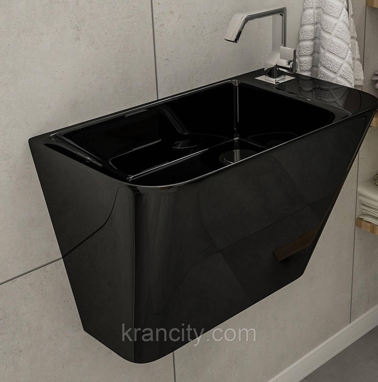 Умывальник 50*28*35см моноблок подвесной VOLLE TEO black,Испания